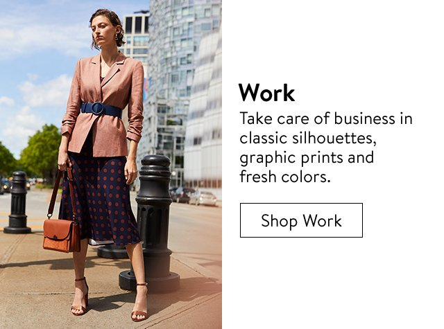 Work clothing, shoes and accessories for women.