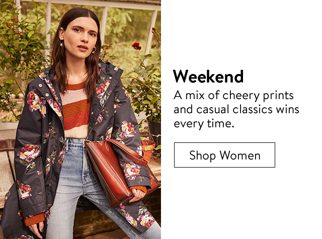 Women's weekend clothing, shoes and accessories.