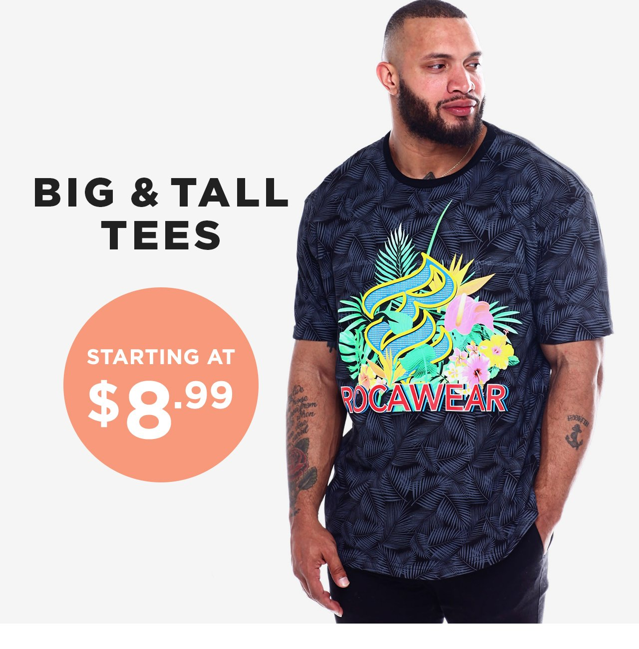 Shop Big and Tall Tees starting at $8.99