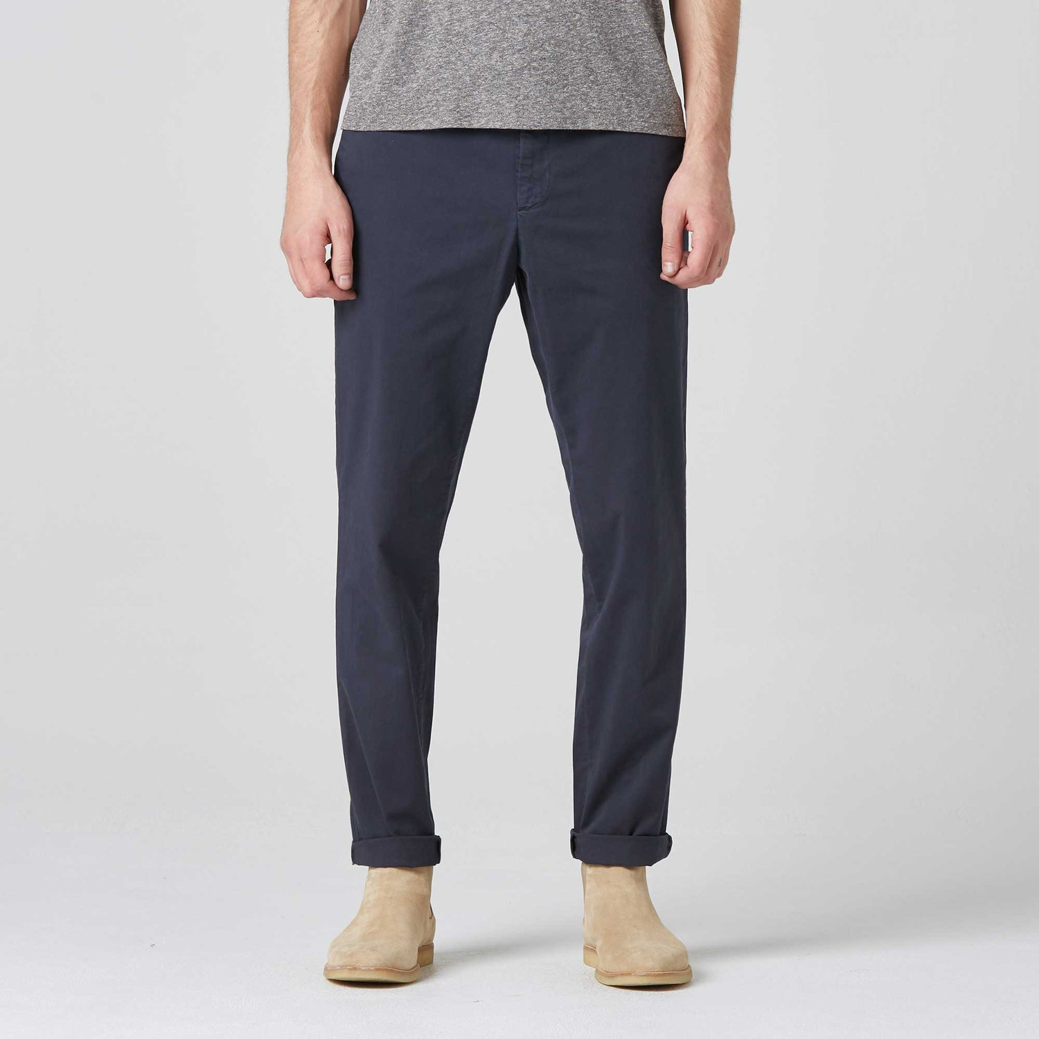 Skinny-Slim Washed Chinos in Midnight Navy