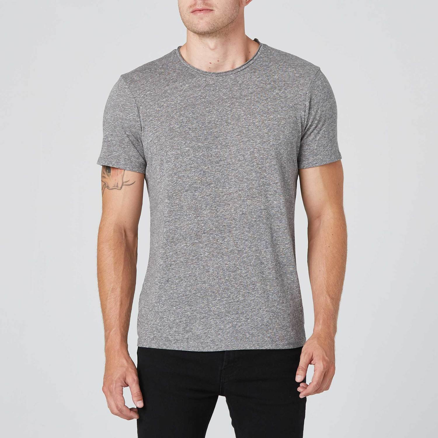 Modern Crew Neck Tee in Heather Grey