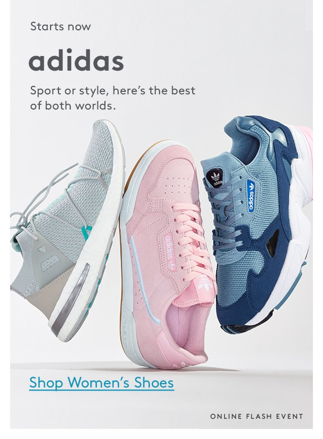 Starts now | Adidas | Sport or style, here's the best of both worlds. | Shop Women's Shoes | Online Flash Event