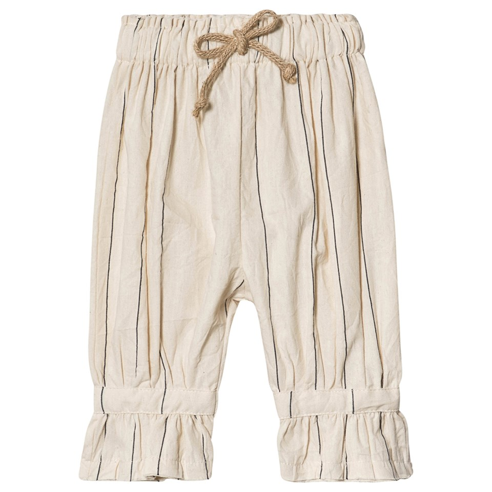 Little Creative Factory Cream Cotton Stripe Elasticated Waist Trousers