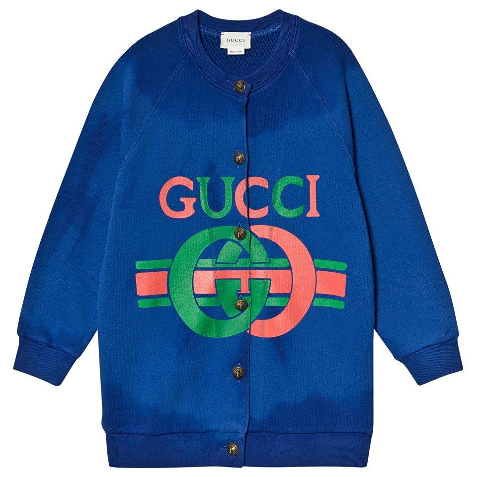 Gucci Blue Gucci Logo Knit Sweat Cardigan