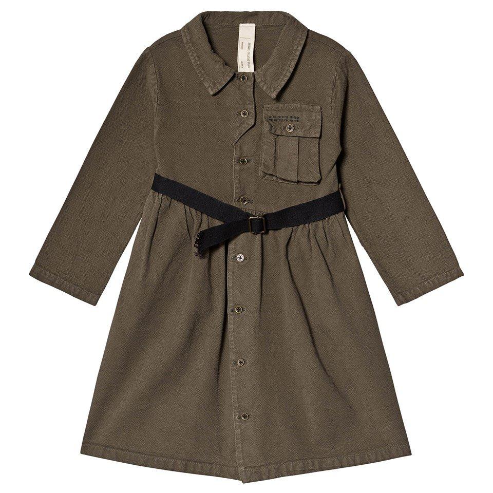 Little Creative Factory Khaki Cotton Work Dress with Belt