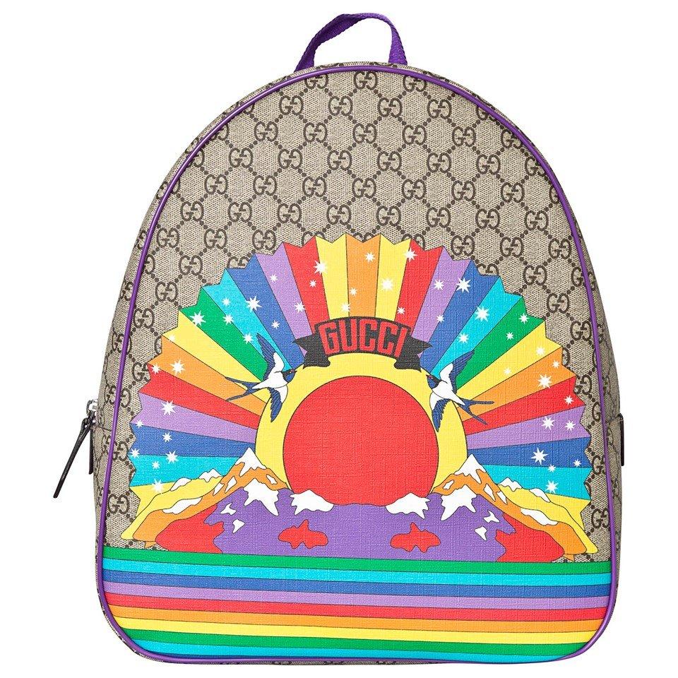 Gucci Beige GG Logo and Rainbow Print Backpack
