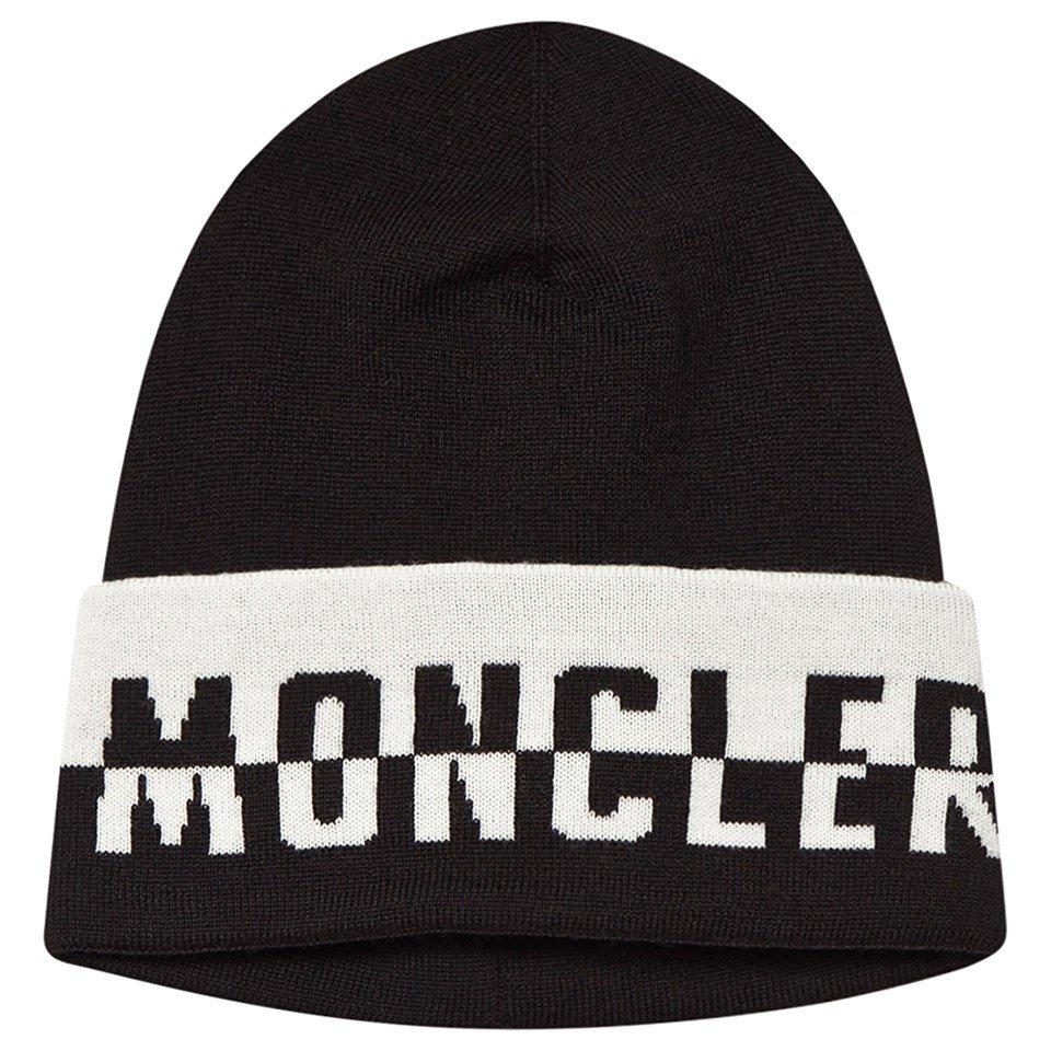 Moncler Black & White Logo Beanie