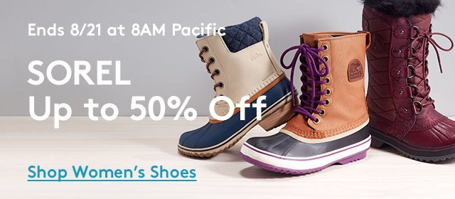 Ends 8/21 at 8AM Pacific | Sorel Up to 50% Off | Shop Women's Shoes