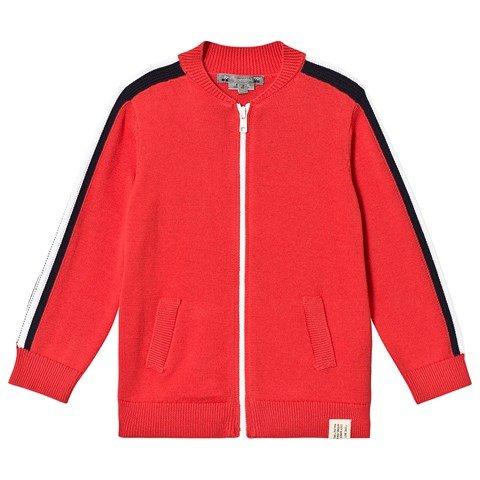Bonpoint Red Zip Up Cardigan