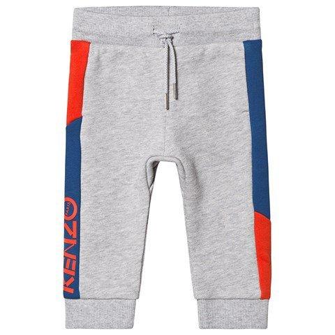 Kenzo Kids Grey and Navy Panelled Logo Sweatpants