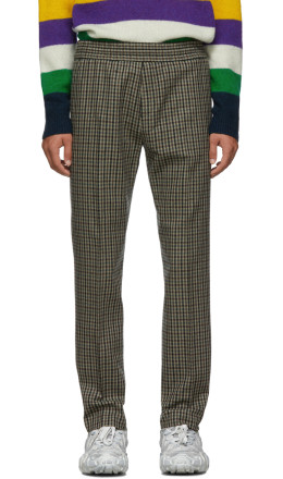 Acne Studios - Beige & Brown Check Ryder Trousers