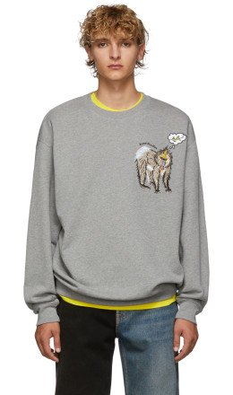 Acne Studios - Grey Mélange Forba Animal-Embroidered Sweater