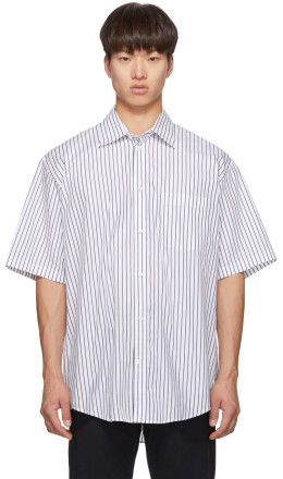 Balenciaga - White & Navy Logo Tab Short Sleeve Shirt