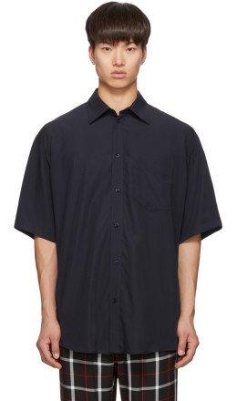 Balenciaga - Navy Logo Tab Short Sleeve Shirt