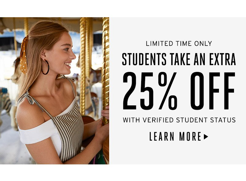 Students take an extra 25% off with verified student status. Learn more.