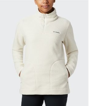 A cream-colored womens Canyon Point sherpa fleece pullover.