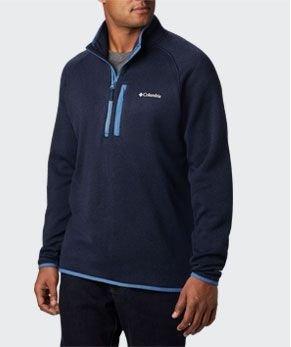 A blue mens Canyon Point half zip sweater fleece.