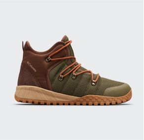 A green, brown, tan, and orange mens Fairbanks 503 mid shoe.