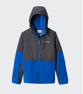 A blue and black boys Basin Butte hooded fleece jacket.