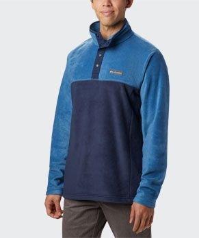 A blue mens Steens Mountain half snap fleece pullover.