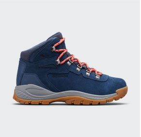 Blue, gray, and orange womens Newton Ridge Plus Amped Hiking boot.