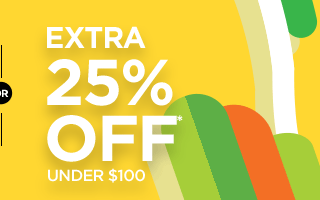 or extra 25% off* under $100