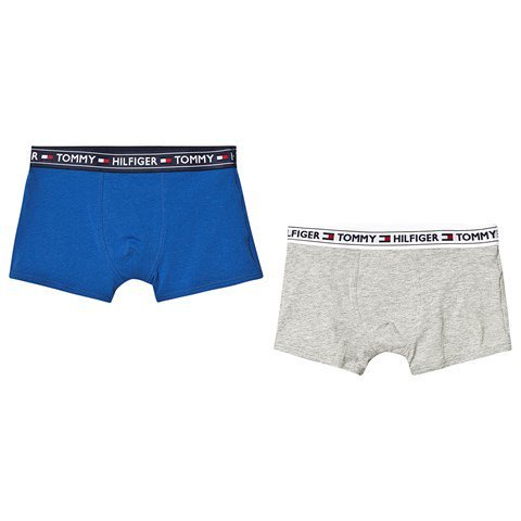 Tommy Hilfiger Pack of 2 Grey and Blue Branded Waistband Boxers