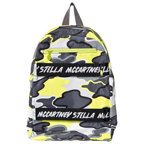 Stella McCartney Kids Grey and Neon Camo Branded Backpack