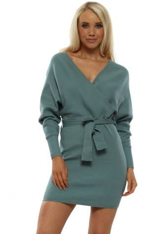 Soft Teal Knit Wrap Front Fitted Mini Dress