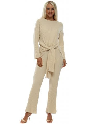 Cream Soft Ribbed Tie Front Flare Co-Ord Set