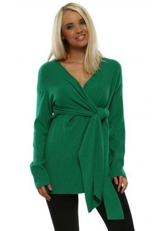 Green Ribbed Wrap Tie Jumper