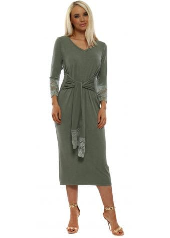 Victoria Greenish Lace Trim Tie Dress