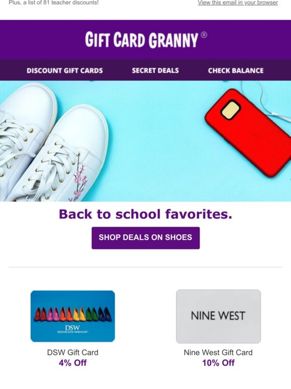 Gift Card Granny Back To School Shoes For Less Milled