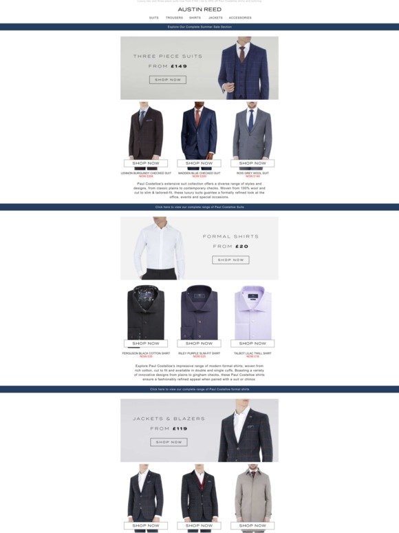 Austin Reed Paul Costelloe Suits Now From 149 Premium Wool Three Piece Suits Milled