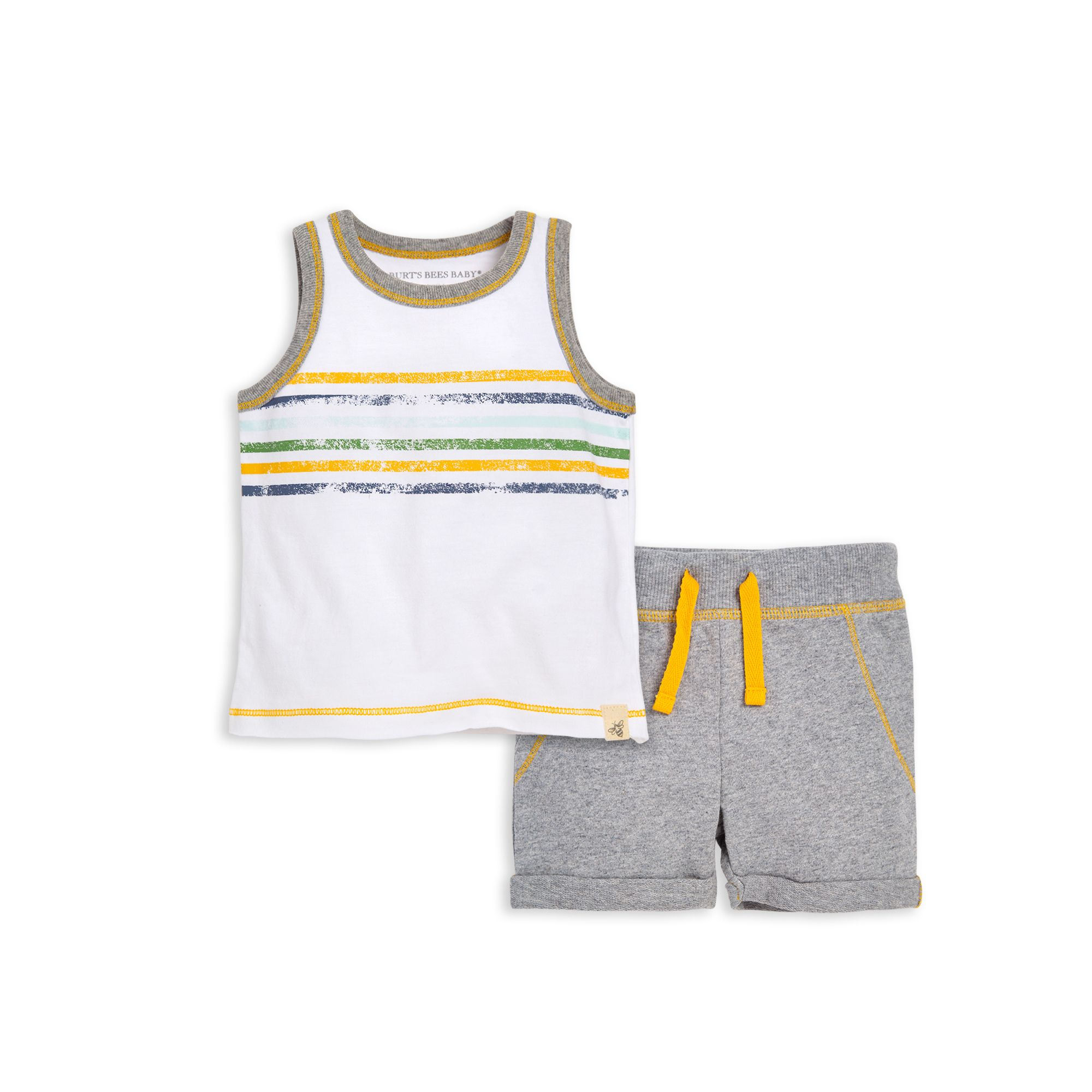Distressed Stripe Organic Baby Tee & Short Set