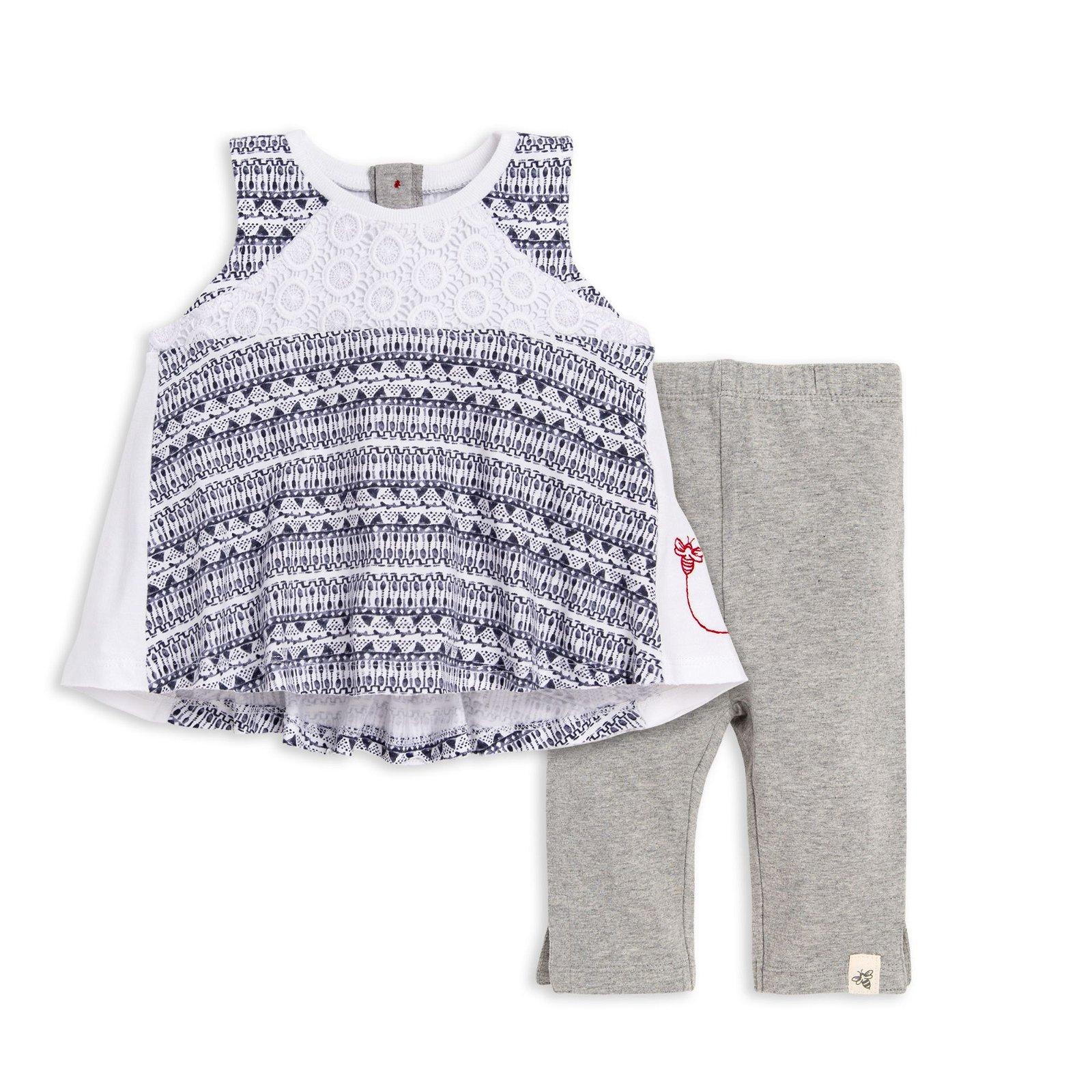 Arts & Crafts Watercolor Organic Baby Girl Tunic & Capri Legging Set
