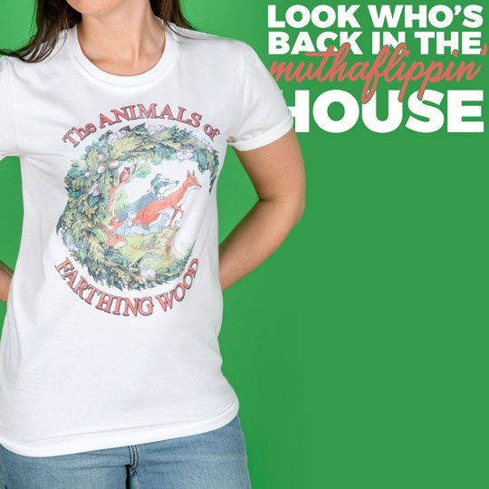 Women/'s The Animals Of Farthing Wood White Boyfriend Fit Rolled Sleeve T-Shirt