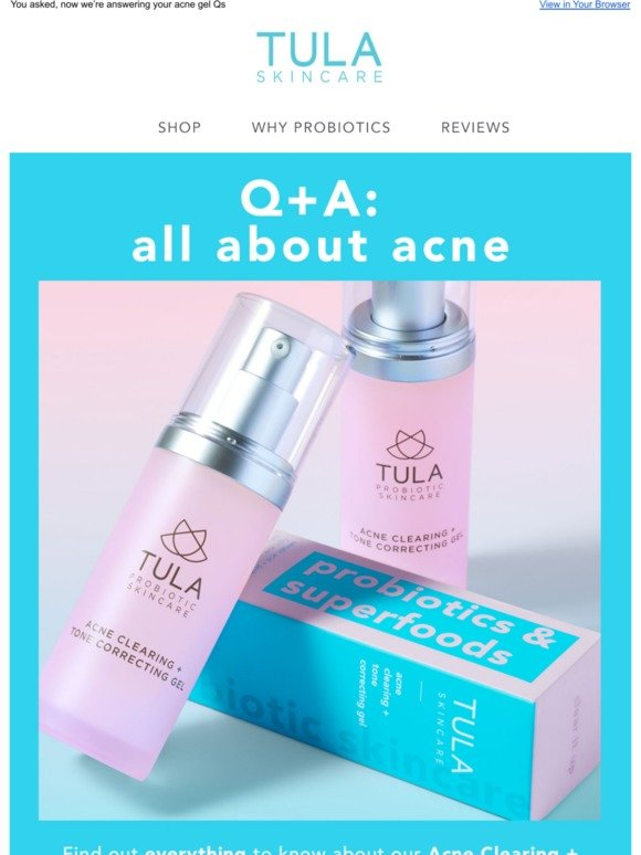 Tula: Open for our best-selling acne solution 📩 | Milled