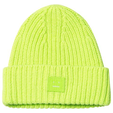 Acne Studios Lime Green Knitted Beanie Hat