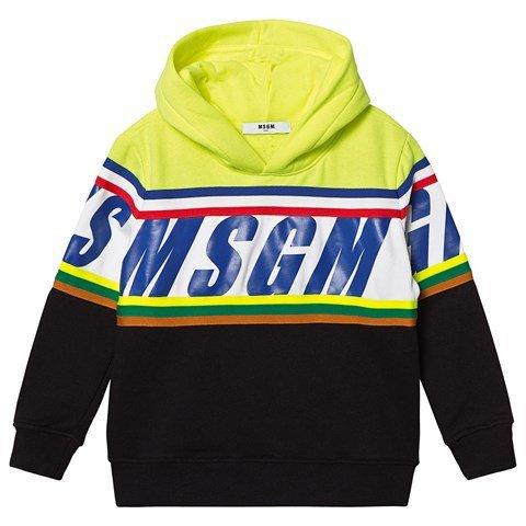 MSGM Yellow Fluro Branded Racing Hoodie