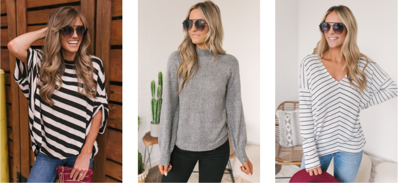 striped tops grey sweater