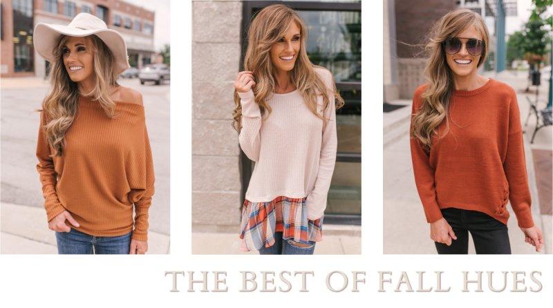 fall sweaters rust tops