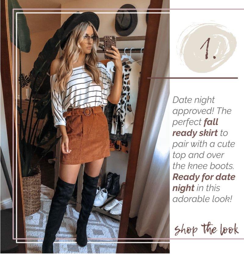 striped shirt corduroy skirt black boots