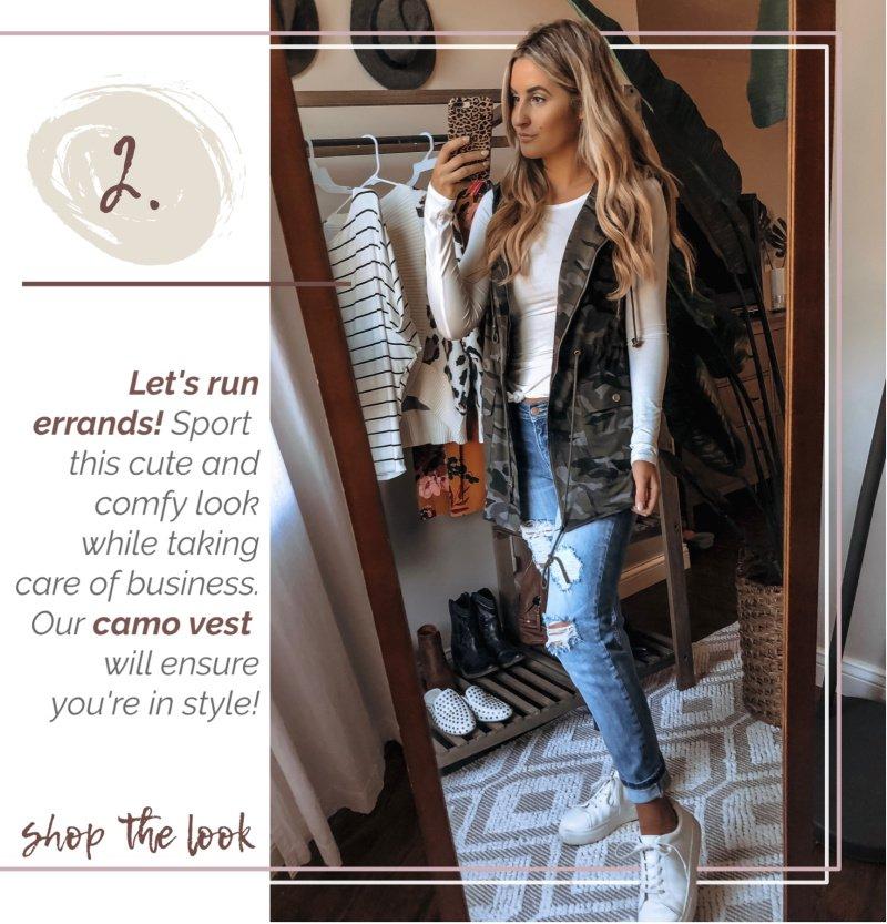 camo vest distressed denim white sneakers
