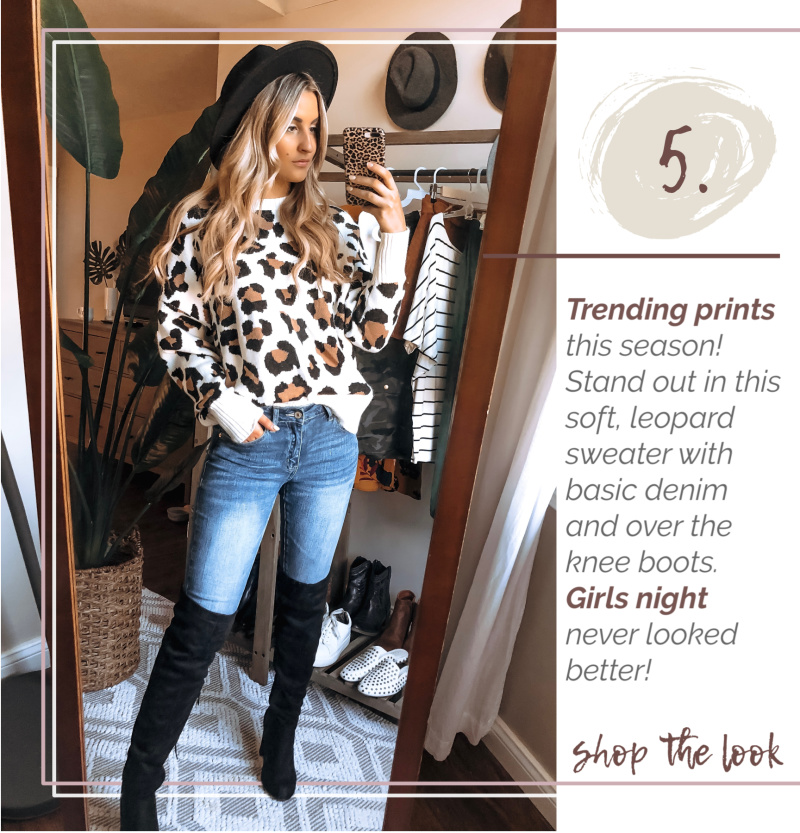 leopard sweater over the knee black boots