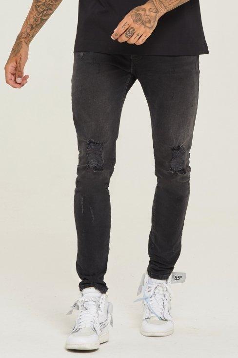 Destroyed Slim Fit Wash Black Denim Jeans