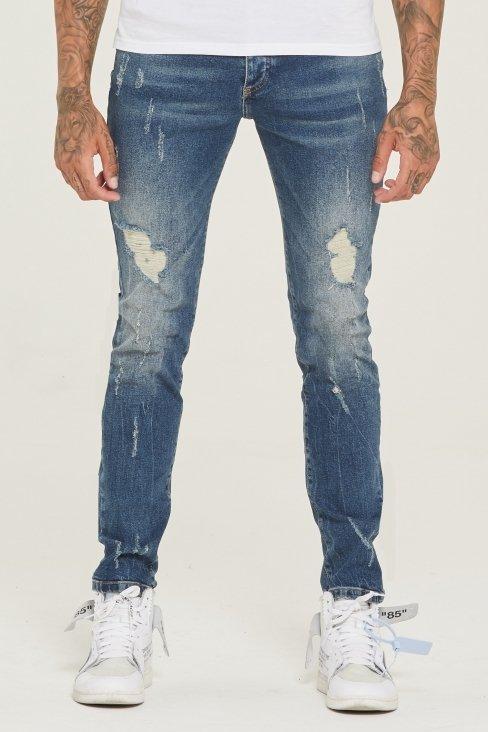 Destroyed Slim Fit Blue Denim Jeans
