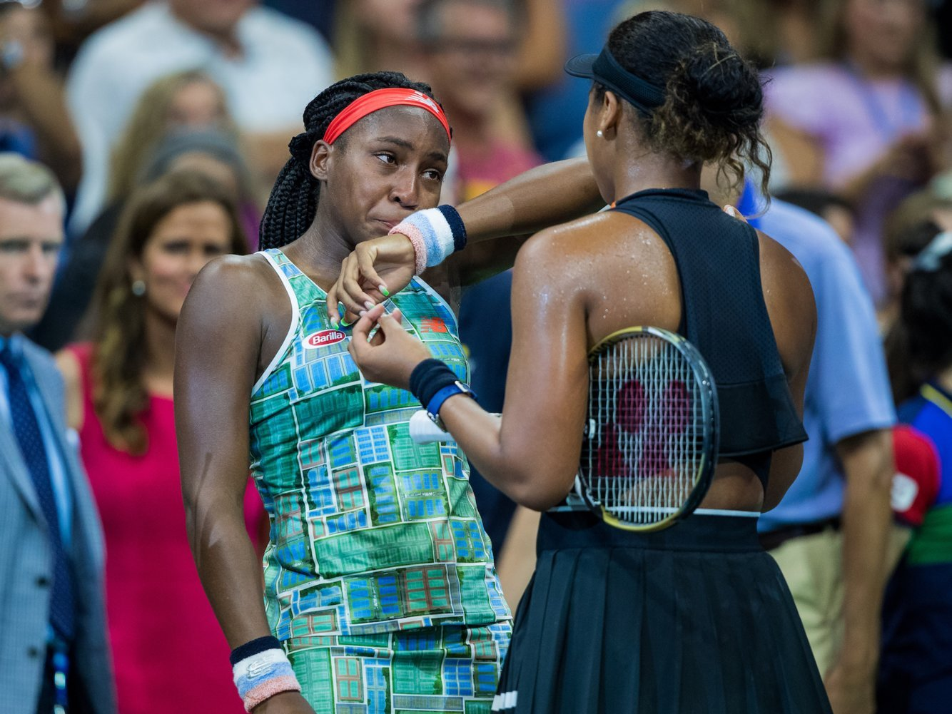 Naomi Osaka consoled a teary-eyed Coco Gauff after beating her in style at the US Open
