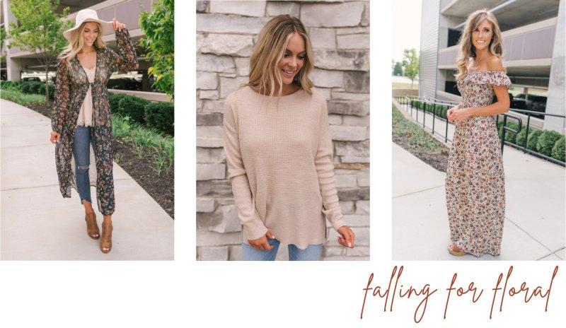 floral fashion beige knit top