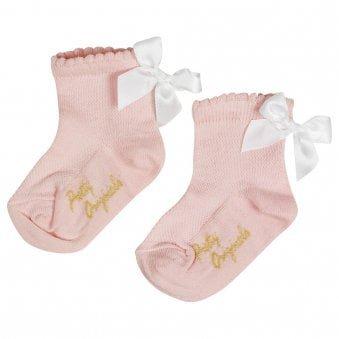Pretty Originals Bow Socks Pink & White
